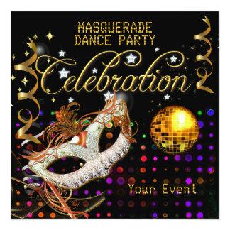 Bola de discoteca negra del baile del oro de la invitación 13,3 cm x 13,3cm