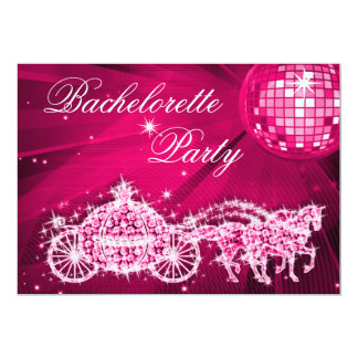 Bola de discoteca, princesa Coach y caballos Invitación 12,7 X 17,8 Cm
