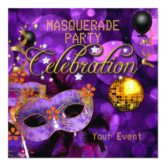 Bola de discoteca púrpura del baile del oro de la invitación 13,3 cm x 13,3cm