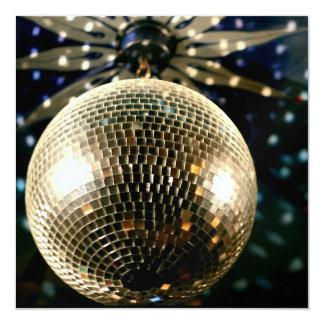 Bola de discoteca reflejada 3 invitación 13,3 cm x 13,3cm