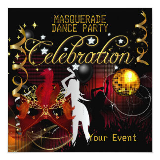 Bola de discoteca roja del baile del oro de la invitación 13,3 cm x 13,3cm