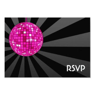 Bola de discoteca rosada RSVP Invitación 8,9 X 12,7 Cm