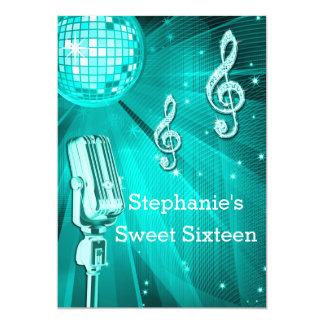 Bola de discoteca y dulce retro dieciséis del invitación 12,7 x 17,8 cm