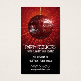 Bola de espejo roja de alquiler del fiesta tarjeta de negocios
