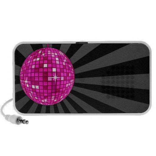 Bola de espejo rosada del disco altavoz de viajar