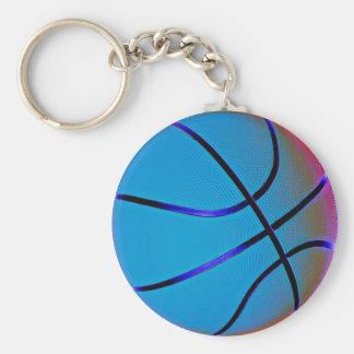 Bola de la cesta del azul real con Brown leve Llaveros Personalizados