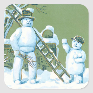 Bola de nieve de la escalera de la nieve del padre pegatina cuadrada