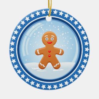 Bola de nieve del navidad con el hombre de pan de adorno navideño redondo de cerámica