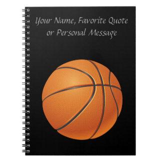 Bola del baloncesto, deporte de equipo libro de apuntes con espiral