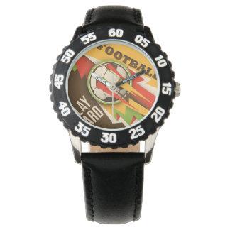 Bola del deporte del fútbol del fútbol del fuego relojes de pulsera