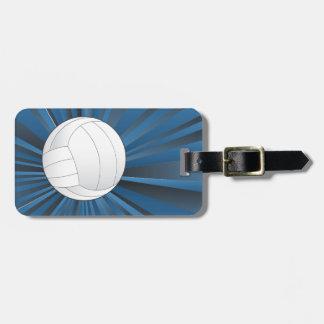 Bola del voleibol en fondo de los rayos etiquetas para maletas