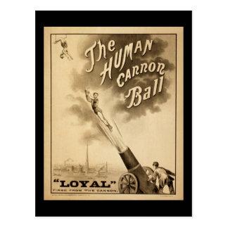 Bola humana de Canon del poster del circo del Postal