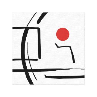 Bola roja abstracta y dibujo lineal impresión en lienzo