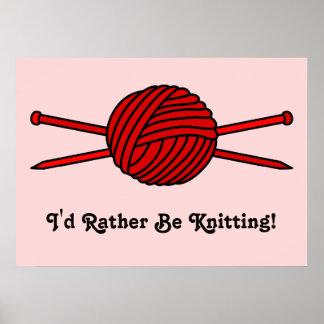 Bola roja del hilado y de las agujas que hacen pun impresiones