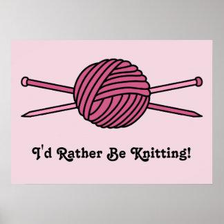 Bola rosada del hilado y de las agujas que hacen p poster