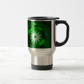 Bola verde de la decoración del navidad taza de viaje de acero inoxidable