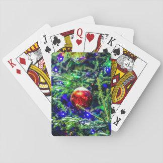 Bola verde del rojo del árbol de navidad barajas de cartas
