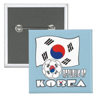 Bola y bandera de fútbol de República de Corea Chapa Cuadrada 5 Cm
