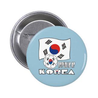 Bola y bandera de fútbol de República de Corea Chapa Redonda 5 Cm