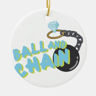 Bola y cadena adorno navideño redondo de cerámica