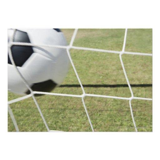 Bola y meta de fútbol comunicado personalizado