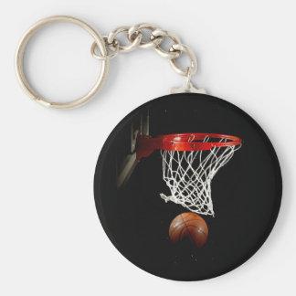 Bola y red del baloncesto llavero redondo tipo chapa