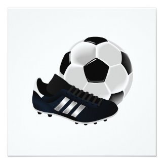 Bola y zapato de fútbol invitación 13,3 cm x 13,3cm