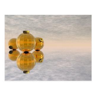 Bolas de oro del navidad - 3D rinden Postal