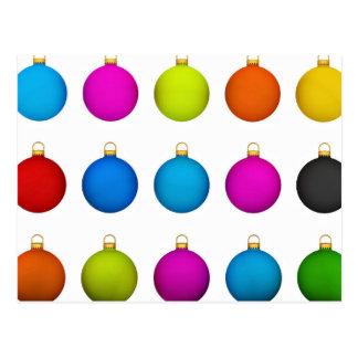 Bolas decorativas coloridas postal