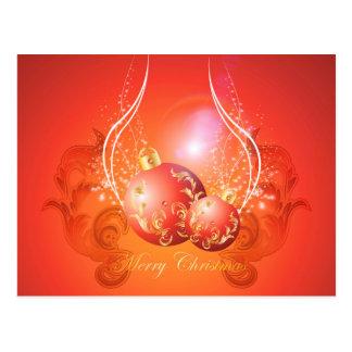 Bolas decorativas del navidad en oro y rojo tarjetas postales