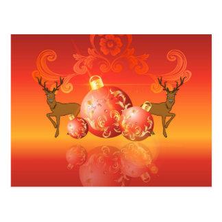 Bolas del navidad con damascos decorativos tarjetas postales