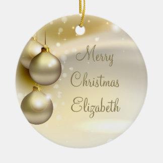 Bolas del navidad del oro en el oro adorno redondo de cerámica