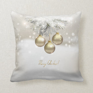 Bolas del navidad y ramas de árbol de oro de pino cojín decorativo