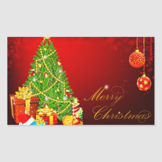 Bolas hermosas del árbol de navidad, rojas y de pegatina rectangular