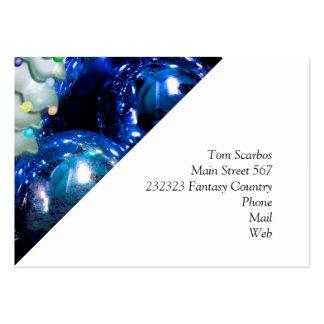 Bolas y árbol del navidad, azules tarjetas de visita