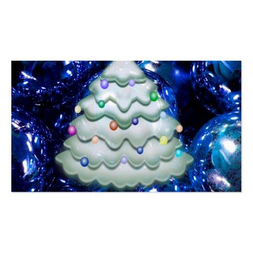 bolas y árbol del navidad, azules tarjeta personal