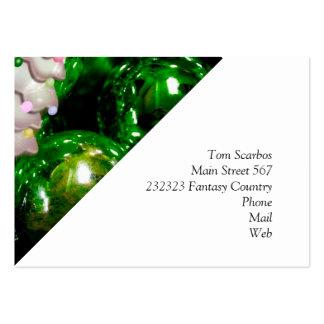 Bolas y árbol del navidad, verdes tarjeta de visita
