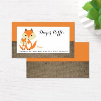 Boleto anaranjado de la rifa del pañal de la tarjeta de negocios