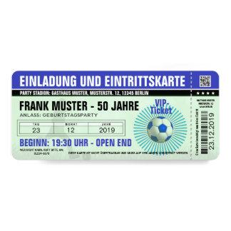 boleto azul (billete de fútbol) y invitación