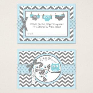 Boleto azul de la rifa del pañal del búho de tarjeta de visita