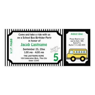 Boleto de autobús del cumpleaños del paseo del invitación 10,1 x 23,5 cm