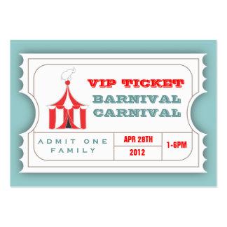 Boleto DE ENCARGO de la admisión del carnaval Tarjetas De Visita Grandes