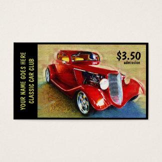 Boleto de la admisión para el salón del automóvil tarjeta de visita