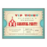 Boleto de la fiesta de cumpleaños del carnaval del comunicado personalizado