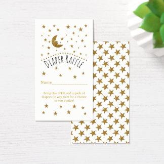 Boleto de la rifa de la luna del oro y del pañal tarjeta de negocios
