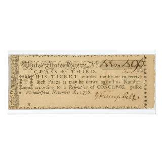 Boleto de lotería temprano de la guerra de invitación 10,1 x 23,5 cm
