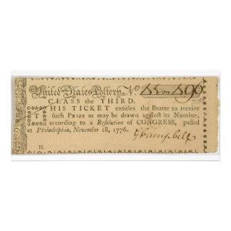 Boleto de lotería temprano de la guerra de revoluc comunicados personales