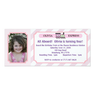 Boleto de tren de la foto - rayas rosadas invitación 10,1 x 23,5 cm