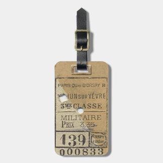 Boleto de tren del 1800's etiquetas para maletas