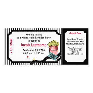 Boleto del cumpleaños de la noche de película invitación 10,1 x 23,5 cm